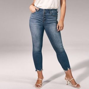 Front Button High-Rise Super Skinny Ankle Jeans